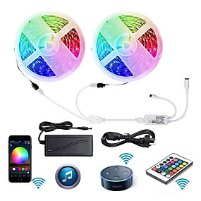 cheap WiFi Control-2 X 5M WIFI Smart LED Strip Lights Waterproof RGB Tiktok Lights 5050 Tape Light Work with IR24 key Controller