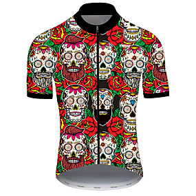 cheap Cycling & Motorcycling-21Grams Men's Short Sleeve Cycling Jersey Summer Nylon Polyester Red / White Sugar Skull Skull Floral Botanical Bike Jersey Top Mountain Bike MTB Road Bike Cycling Ultraviolet Resistant Quick Dry