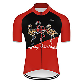 cheap Cycling & Motorcycling-21Grams Men's Short Sleeve Cycling Jersey Summer Nylon Polyester Black / Red Patchwork Flamingo Animal Bike Jersey Top Mountain Bike MTB Road Bike Cycling Ultraviolet Resistant Quick Dry Breathable