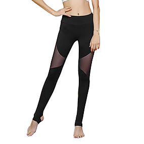 cheap Yoga & Fitness-Women's High Waist Yoga Pants Patchwork Stirrup Leggings Tummy Control Butt Lift Quick Dry Black Dark Navy Nylon Mesh Yoga Fitness Running Winter Sports Activewear Stretchy / Breathable