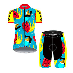 cheap Cycling & Motorcycling-21Grams Women's Short Sleeve Cycling Jersey with Shorts Summer Nylon Polyester Blue+Yellow Novelty Bird Funny Bike Clothing Suit 3D Pad Ultraviolet Resistant Quick Dry Breathable Reflective Strips