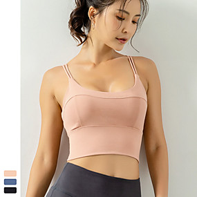 cheap Yoga & Fitness-Women's Sports Bra Light Support Strappy Removable Pad Fashion Black Blue Pink Nylon Spandex Yoga Fitness Running Bra Top Sport Activewear Moisture Wicking Quick Dry Breathable Comfortable Freedom