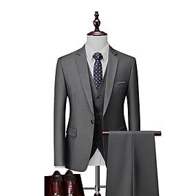 abordables Blazers & Costumes Homme-Homme Boutonnage Simple Revers Cranté costumes Couleur Pleine Blanche / Noir / Bleu US32 / UK32 / EU40 / US34 / UK34 / EU42 / US36 / UK36 / EU44