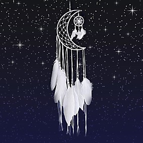 cheap Dreamcatcher-Dream Catcher Moon Mini Handmade Craft Home Hanging Room Decoration Car Ornament Girls Room Decor Dreamcatcher
