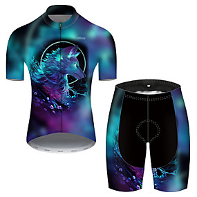 cheap Cycling & Motorcycling-21Grams Men's Short Sleeve Cycling Jersey with Shorts Summer Nylon Polyester Blue Gradient Wolf Animal Bike Clothing Suit 3D Pad Ultraviolet Resistant Quick Dry Breathable Reflective Strips Sports
