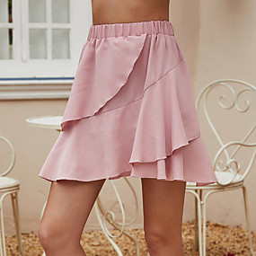 cheap Athleisure Wear-Women's Basic Skirts Solid Colored Layered Blushing Pink