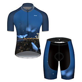 cheap Cycling & Motorcycling-21Grams Men's Short Sleeve Cycling Jersey with Shorts Summer Nylon Polyester Black / Blue Butterfly Bike Clothing Suit 3D Pad Ultraviolet Resistant Quick Dry Breathable Reflective Strips Sports