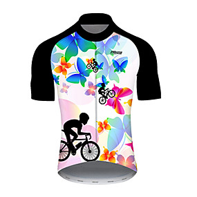 cheap Cycling & Motorcycling-21Grams Men's Short Sleeve Cycling Jersey Summer Nylon Polyester Black / Blue Butterfly Gradient Bike Jersey Top Mountain Bike MTB Road Bike Cycling Ultraviolet Resistant Quick Dry Breathable Sports
