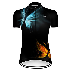 cheap Cycling & Motorcycling-21Grams Women's Short Sleeve Cycling Jersey Summer Nylon Polyester Red+Blue Butterfly Gradient Solid Color Bike Jersey Top Mountain Bike MTB Road Bike Cycling Ultraviolet Resistant Quick Dry