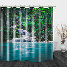 cheap Shower Curtains-Mountain Water Pond  Digital Print Waterproof Fabric Shower Curtain for Bathroom Home Decor Covered Bathtub Curtains Liner Includes with Hooks
