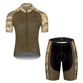 cheap Cycling & Motorcycling-21Grams Men's Short Sleeve Cycling Jersey with Shorts Summer Nylon Polyester Camouflage Patchwork Solid Color Camo / Camouflage Bike Clothing Suit 3D Pad Ultraviolet Resistant Quick Dry Breathable