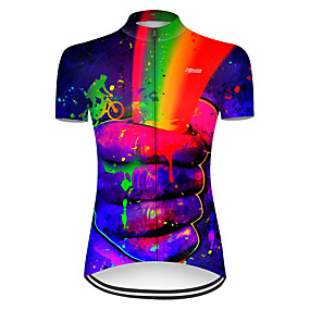 cheap Cycling & Motorcycling-21Grams Women's Short Sleeve Cycling Jersey Summer Nylon Polyester Red+Blue Rainbow Gradient 3D Bike Jersey Top Mountain Bike MTB Road Bike Cycling Ultraviolet Resistant Quick Dry Breathable Sports