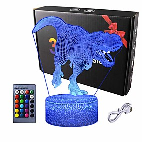cheap 3D Night Lights-3D Dinosaur Night Light - 3D Illusion Lamp  and16 Color Change Decor Lamp with Remote Control for Kids Dinosaur Gifts for Boys