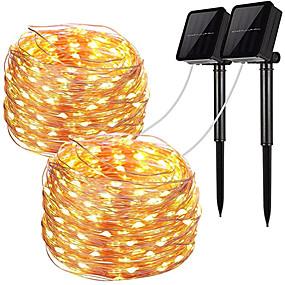 cheap LED String Lights-2pcs LED Solar Outdoor Lights Garden String Lights 100 LEDs Fairy Holiday Christmas Party Garland Solar Garden Waterproof 12m