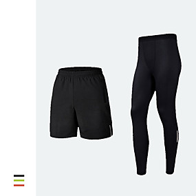 cheap Running & Jogging-Men's Running Shorts With Tights 2pcs Bottoms Winter Fitness Running Jogging Training Quick Dry Breathable Soft Sport Fluorescence+Green Black Orange / Stretchy