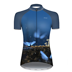 cheap Cycling & Motorcycling-21Grams Women's Short Sleeve Cycling Jersey Summer Nylon Polyester Black / Blue Butterfly Bike Jersey Top Mountain Bike MTB Road Bike Cycling Ultraviolet Resistant Quick Dry Breathable Sports