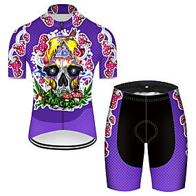 cheap Cycling & Motorcycling-21Grams Men's Short Sleeve Cycling Jersey with Shorts Summer Nylon Polyester Violet Sugar Skull Novelty Skull Bike Clothing Suit 3D Pad Ultraviolet Resistant Quick Dry Breathable Reflective Strips