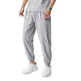 cheap Running & Jogging-Men's Joggers Track Pants Sports & Outdoor Athleisure Wear Bottoms Drawstring Pocket Elastane Winter Fitness Running Jogging Training Quick Dry Breathable Soft Sport Solid Colored Black Dark Blue Gray