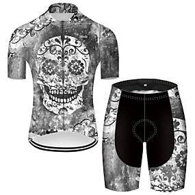 cheap Cycling & Motorcycling-21Grams Men's Short Sleeve Cycling Jersey with Shorts Summer Nylon Polyester Grey Sugar Skull Novelty Skull Bike Clothing Suit 3D Pad Ultraviolet Resistant Quick Dry Breathable Reflective Strips