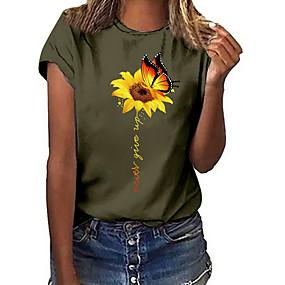 cheap Women-Women's T shirt Geometric Sunflower Round Neck Tops White Black Yellow