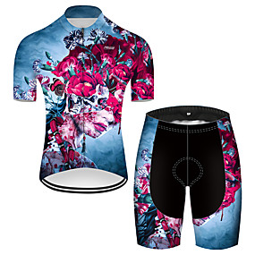 cheap Cycling & Motorcycling-21Grams Men's Short Sleeve Cycling Jersey with Shorts Summer Nylon Polyester Red+Blue Sugar Skull Novelty Skull Bike Clothing Suit 3D Pad Ultraviolet Resistant Quick Dry Breathable Reflective Strips