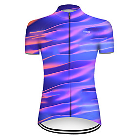 cheap Cycling & Motorcycling-21Grams Women's Short Sleeve Cycling Jersey Summer Nylon Polyester Violet Rainbow Stripes Gradient Bike Jersey Top Mountain Bike MTB Road Bike Cycling Ultraviolet Resistant Quick Dry Breathable Sports