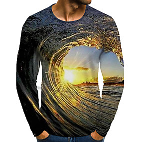 cheap Athleisure Wear-Men's T shirt Graphic Scenery Plus Size Print Long Sleeve Daily Tops Streetwear Exaggerated Blue Purple Orange