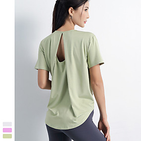 cheap Yoga & Fitness-Women's Yoga Top Fashion White Purple Blue Green Yoga Fitness Running Top Short Sleeve Sport Activewear Quick Dry Breathable Comfortable Stretchy