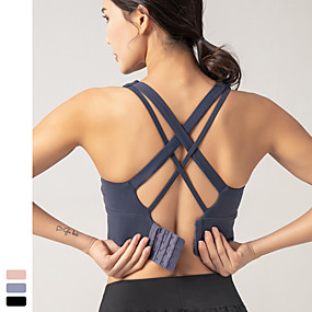 cheap Exercise, Fitness & Yoga-Women's Sports Bra High Support Removable Pad Wireless Fashion Black Blue Pink Nylon Spandex Yoga Fitness Gym Workout Bra Top Sport Activewear Breathable High Impact Quick Dry Moisture Wicking