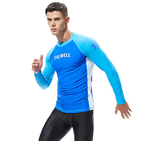 cheap Exercise, Fitness & Yoga-SEOBEAN® Men's Diving Rash Guard Top Breathable Long Sleeve Swimming Diving Surfing Patchwork Autumn / Fall Spring Summer / Stretchy
