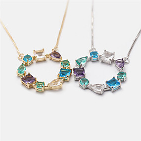 cheap Dating-Women's Multicolor Pendant Necklace Necklace Unique Design Ethnic Fashion Cute Copper Gold Silver 20 cm Necklace Jewelry For Party Evening Formal Prom Festival
