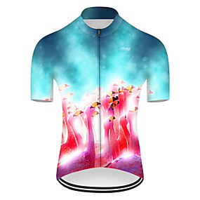 cheap Cycling & Motorcycling-21Grams Men's Short Sleeve Cycling Jersey Summer Nylon Polyester Red+Blue Flamingo Gradient Animal Bike Jersey Top Mountain Bike MTB Road Bike Cycling Ultraviolet Resistant Quick Dry Breathable Sports