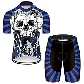 cheap Cycling & Motorcycling-21Grams Men's Short Sleeve Cycling Jersey with Shorts Summer Nylon Polyester Blue+White Sugar Skull 3D Skull Bike Clothing Suit 3D Pad Ultraviolet Resistant Quick Dry Breathable Reflective Strips