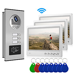 cheap Video Door Phone Systems-Multi Apartment Connect Three Indoor Monitors 9inch Large Screen Video Door Phone with 2 Way Intercom System Support Mobile Phone APP Remote Control