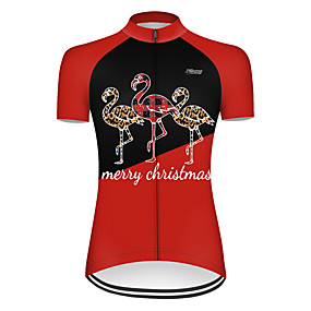 cheap Cycling & Motorcycling-21Grams Women's Short Sleeve Cycling Jersey Summer Nylon Polyester Black / Red Patchwork Flamingo Animal Bike Jersey Top Mountain Bike MTB Road Bike Cycling Ultraviolet Resistant Quick Dry Breathable