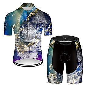 cheap Cycling & Motorcycling-21Grams Men's Short Sleeve Cycling Jersey with Shorts Summer Nylon Polyester Black+White Gradient Lion Animal Bike Clothing Suit 3D Pad Ultraviolet Resistant Quick Dry Breathable Reflective Strips