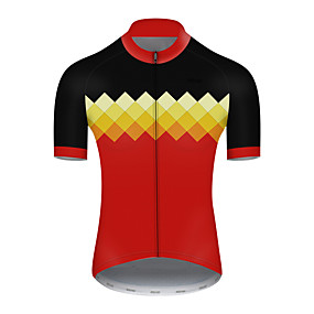cheap Cycling & Motorcycling-21Grams Men's Short Sleeve Cycling Jersey Summer Nylon Polyester Black / Red Plaid Checkered Patchwork Bike Jersey Top Mountain Bike MTB Road Bike Cycling Ultraviolet Resistant Quick Dry Breathable