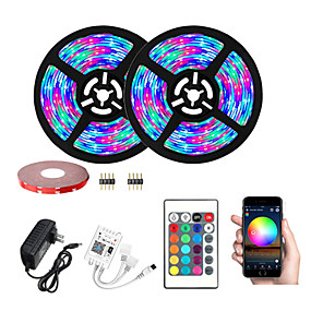 cheap WiFi Control-LED WiFi Wireless RGB LED Smart Strip Lights 2835 600LEDs 32.8Ft 10M With 24 Keys Remote Control Flexible Tape Lights Fits AlexaGoogle Home