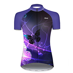 cheap Cycling & Motorcycling-21Grams Women's Short Sleeve Cycling Jersey Summer Nylon Polyester Violet Butterfly Gradient Bike Jersey Top Mountain Bike MTB Road Bike Cycling Ultraviolet Resistant Quick Dry Breathable Sports
