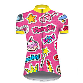 cheap Cycling & Motorcycling-21Grams Women's Short Sleeve Cycling Jersey Summer Nylon Polyester Pink Butterfly Heart Stars Bike Jersey Top Mountain Bike MTB Road Bike Cycling Ultraviolet Resistant Quick Dry Breathable Sports