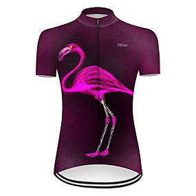 cheap Cycling & Motorcycling-21Grams Women's Short Sleeve Cycling Jersey Summer Nylon Polyester Violet Flamingo Gradient Animal Bike Jersey Top Mountain Bike MTB Road Bike Cycling Ultraviolet Resistant Quick Dry Breathable Sports