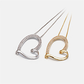 cheap Birthday Party-Women's Pendant Necklace Necklace Long Necklace Heart Dainty Artistic Elegant Cute Zircon Copper Gold Silver 20 cm Necklace Jewelry For Party Evening Masquerade Birthday Party Beach Festival