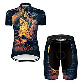 cheap Cycling & Motorcycling-21Grams Women's Short Sleeve Cycling Jersey with Shorts Summer Nylon Polyester Black / Yellow Sugar Skull 3D Novelty Bike Clothing Suit 3D Pad Ultraviolet Resistant Quick Dry Breathable Reflective