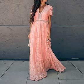 Χαμηλού Κόστους Women's Dresses-Γυναικεία Φόρεμα ριχτό από τη μέση και κάτω Μακρύ φόρεμα - Κοντομάνικο Συμπαγές Χρώμα Δαντέλα Φούντα Καλοκαίρι Λαιμόκοψη V Βίντατζ 2020 Ανθισμένο Ροζ Τ M L XL XXL
