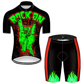 cheap Cycling & Motorcycling-21Grams Men's Short Sleeve Cycling Jersey with Shorts Summer Nylon Polyester Black / Green Patchwork Gradient Funny Bike Clothing Suit 3D Pad Ultraviolet Resistant Quick Dry Breathable Reflective