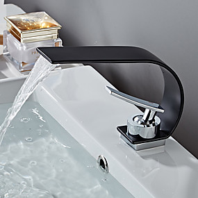 cheap Bathroom Sink Faucets-Bathroom Sink Faucet - Waterfall Painted Finishes Centerset Single Handle One HoleBath Taps