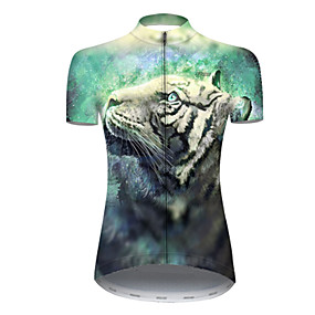cheap Cycling & Motorcycling-21Grams Women's Short Sleeve Cycling Jersey Summer Nylon Polyester Black / Green Tiger Animal Bike Jersey Top Mountain Bike MTB Road Bike Cycling Ultraviolet Resistant Quick Dry Breathable Sports