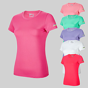 cheap Running & Jogging-Women's Short Sleeve Running Shirt Tee Tshirt Top Summer Moisture Wicking Quick Dry Breathable Gym Workout Running Active Training Walking Jogging Sportswear Solid Colored White Purple Red Pink