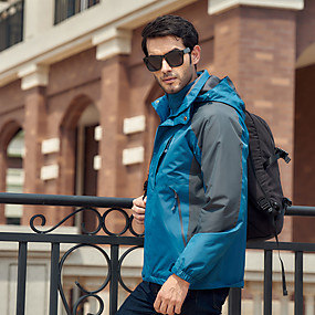 cheap Camping, Hiking & Backpacking-Men's Hiking Jacket Autumn / Fall Winter Spring Outdoor Patchwork Waterproof Windproof Fleece Lining Warm Top Full Length Hidden Zipper Hunting Fishing Climbing Black Red Blue / Breathable