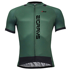cheap Cycling & Motorcycling-21Grams Men's Short Sleeve Cycling Jersey Summer Coolmax® Polyester Yellow Dark Green Blue Solid Color Bike Jersey Top Mountain Bike MTB Road Bike Cycling Quick Dry Back Pocket Sports Clothing Apparel